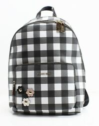Michael Kors NEW Black Gingham Plaid Wythe Large Designer Backpack Bag $298- #06