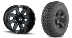 20x10 -19 Ion 141 Gloss Black Wheels 33 Mt Tires Package 8x170 Ford F250 F350