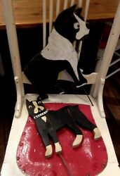 Vintage Wooden Boston Terrier Yard Art - 2