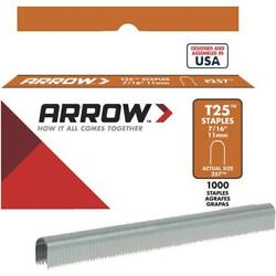 100 Pk Arrow T25 High-performance Round Crown Cable Staple, 7/16 L. 1000-pack