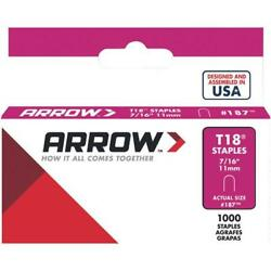 100 Pk Arrow T18 High-performance Round Crown Cable Staple, 7/16 L. 1000-pack