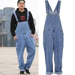 Mens Casual Loose Washed Denim Suspender Pants Overalls Jeans Trousers Plus Size