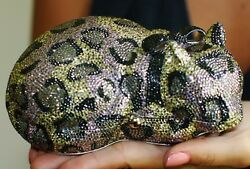 JUDITH LEIBER RESTING KITTEN CLUTCH CAT SWAROVSKI CRYSTAL MINAUDIERE EVENING BAG