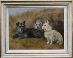 FLORENCE JAY DOG PORTRAIT SCOTTISH TERRIERS BRITISH OIL PAINTING ART 1905-1920