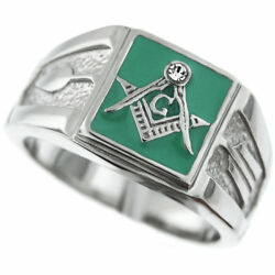 Mason Masonic Green Clear Stainless Steel Ring Size 7 8 9 10 11 12 13 14