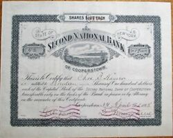 Second National Bank Of Cooperstown Ny 1898 Stock Certificate - New York