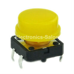 100pcs OMRON B3F-4055 Tactile Switch + A24 Yellow KeyCap, 12x12x7.3mm, Momentary