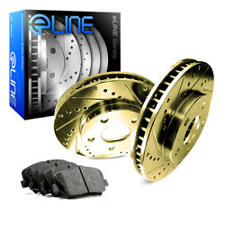 For 2000 Subaru Legacy Front eLine Gold Drill Slot Brake Rotors+Ceramic Pads