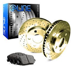 For 1997-2000 Subaru Legacy Front eLine Gold Drilled Brake Rotors+Ceramic Pads
