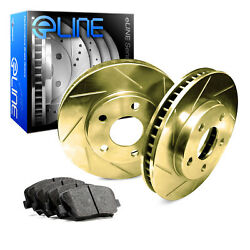 For 1997-2000 Subaru Legacy Front eLine Gold Slotted Brake Rotors+Ceramic Pads