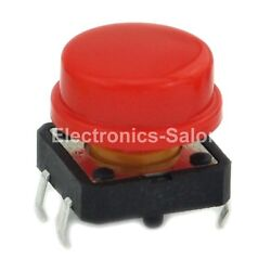 100pcs OMRON B3F-4055 Tactile Switch + A24 Red KeyCap, 12x12x7.3mm, Momentary.