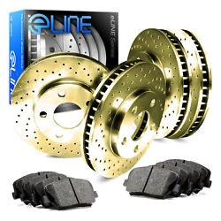 GOLD EDITION ELINE[FULL KIT] CROSS DRILLED BRAKE ROTORS & CERAMIC PADS  D3448