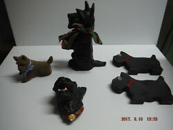 SCOTTISH TERRIER FIGURINES CAST IRON WOODEN FELT LOT OF 5