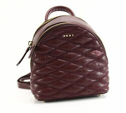 DKNY NEW Red Cordovan Quilted Leather Lara Backpack Crossbody Purse $248- #041