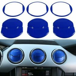 9pcs Air Conditioner Outlet Vent Cover Trim For Ford Mustang 2015-2018(Blue) an
