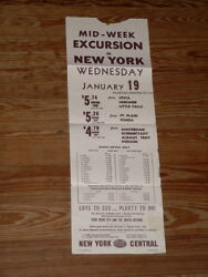 Vintage New York Central Systems Railroad Broadside Poster Mid-week Excursion