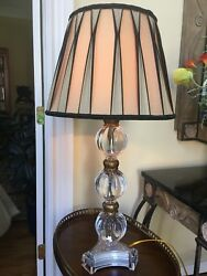 Ardley Hall Lucite Glass Sphere Table Lamp With Pleated Silk Shade