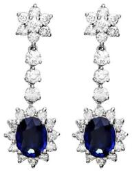 5.50ct Natural Sapphire And Diamond 14k Solid White Gold Earrings