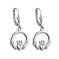 Solvar Irish 14k White Gold Celtic Leverback Claddagh Drop Earrings s3956