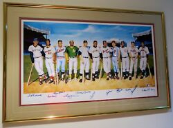 FRAMED MICKEY MANTLE TED WILLIAMS AARON AUTOGRAPHED LIMITED EDITION LITHOGRAPH
