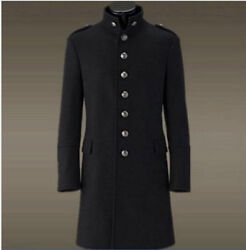 Mens Fashion German Thick Wool Warm Single-breasted Military Uniform Overcoats