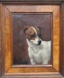 E. FOX JACK RUSSELL VICTORIAN DOG PORTRAIT OIL PAINTING ENGLISH SCHOOL ART 1887