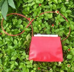 Judith Leiber Red Lizard Cross Body Evening Bag with Mother of Pearl Top 7.5