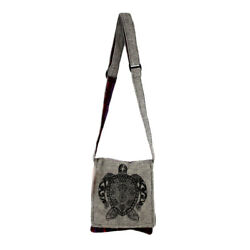 Small Gray Cotton Bag Purse with Sea Turtle Design Crossbody Hobo Bohemian