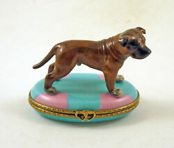 NEW HAND PAINTED FRENCH LIMOGES BOX PIT BULL TERRIER DOG ON BLUE RUG