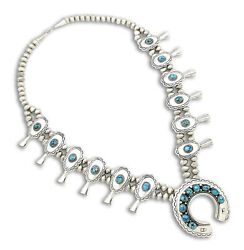 Navajo Signed Pm Old Pawn Museum Quality .925 Sterling Silver Squash Necklace