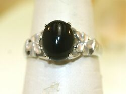 Solid 14k White Gold Natural Black Coral Hawaiian Plumeria Flower Ring 7.75