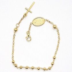18k Yellow Gold Rosary Bracelet, 3 Mm Spheres, Cross And Miraculous Medal