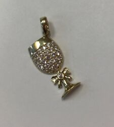 Wine Glass 10k Real Yellow Gold With Small Pendant Or Charm 1gr And 3/4andrdquo Tall