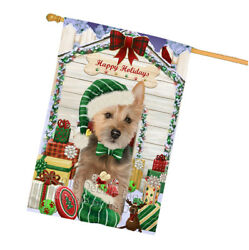 Happy Holiday Christmas Australian Terrier Dog With Presents House Flag FLG52707