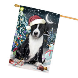 Holly Jolly American Staffordshire Terrier Dog Christmas  House Flag FLG51753