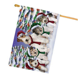 Wire Fox Terriers Dog Christmas Family Portrait in Holiday House Flag FLG52804