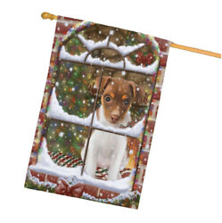 Come Home For Christmas Rat Terrier Dog Sitting In Window House Flag FLG48436