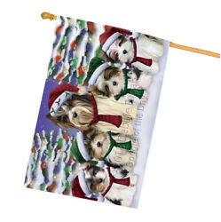 Biewer Terriers Dog Christmas Family Portrait in Holiday House Flag FLG52788