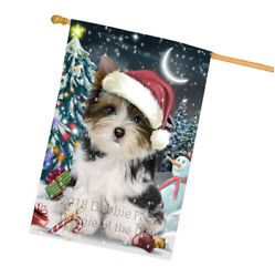 Have a Holly Jolly Biewer Terrier Dog Christmas  House Flag FLG51765