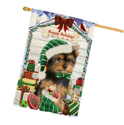Holidays Christmas Yorkshire Terrier Dog House With Presents House Flag FLG51674