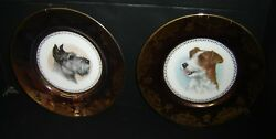 Antique Limoges Pair of Plates With Scottish Terrier & Jack Russel Terrier Dogs.
