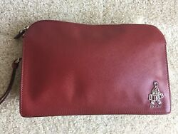 NEW AUTH PRADA SAFFIANO RUBY RED LEATHER  COSMETIC CASE BAG TRAVEL CLUTCH