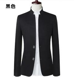 2018 Mens Autumn Long Sleeve Stand Collar Slim Fit Two Buttons Overcoats Jackets