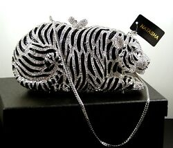 Natasha Crystal Tiger Clutch Evening Bag Silver & Black w Chain Leather NWT