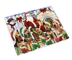 Happy Holiday Christmas Airedale Terriers Dog House Gathering Blanket BLNKT77502