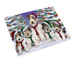 Wire Fox Terriers Dog Christmas Family Portrait in Holiday Blanket BLNKT90795