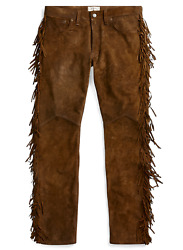 1800 Double Rrl Brown Western Limited Edition Suede Leather Pants
