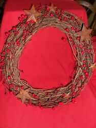 Gorgeous Primitive Wreath Red Pip Berries And Hard Berries W/ Rusty Stars 18