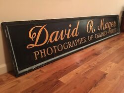 8'foot Antique Wood Trade Sign Old Photo Studio Vintage Camera Store Photography