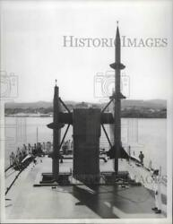 1956 Press Photo Seaman on deck of U.S.S. Boston with guided missile